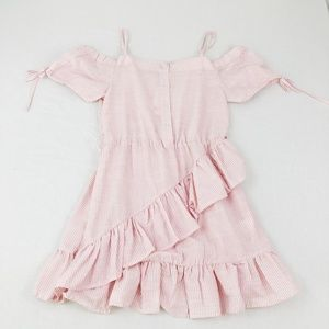 NWT Pink & White Striped Ruffle Off Shoulder Dress